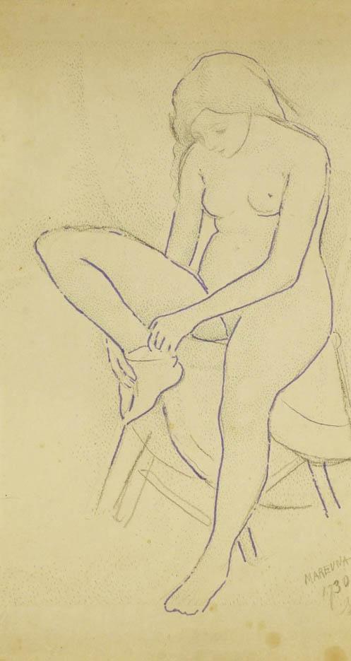 "Мария Воробьёва-Стебельская (Маревна) - Marie Vorobieff (Marevna) ""Pointillist style portrait of a nude female"""