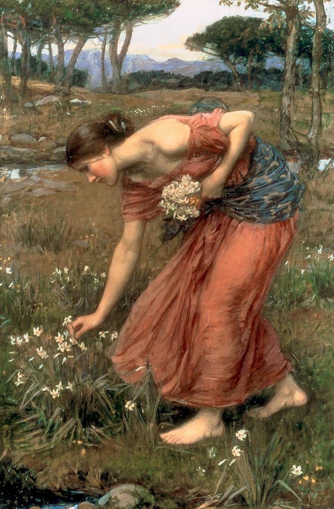 "Джон Уильям Уотерхаус (John William Waterhouse), ""Нарциссы"""