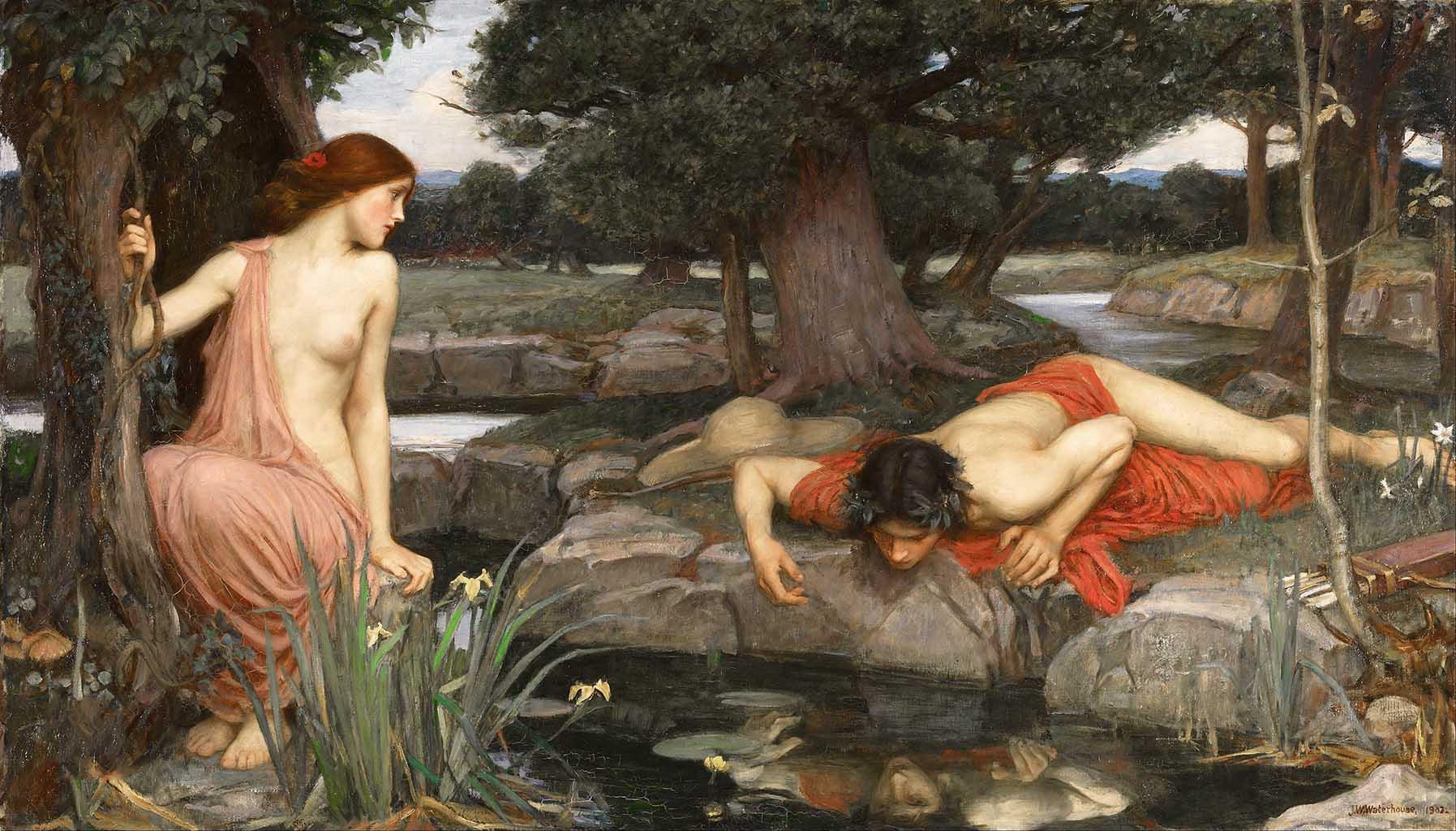 "Джон Уильям Уотерхаус (John William Waterhouse), ""Эхо и Нарцисс"""