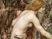 """Джон Уильям Уотерхаус (John William Waterhouse), """"увушка, собирающая цветы (эскиз)"""""""
