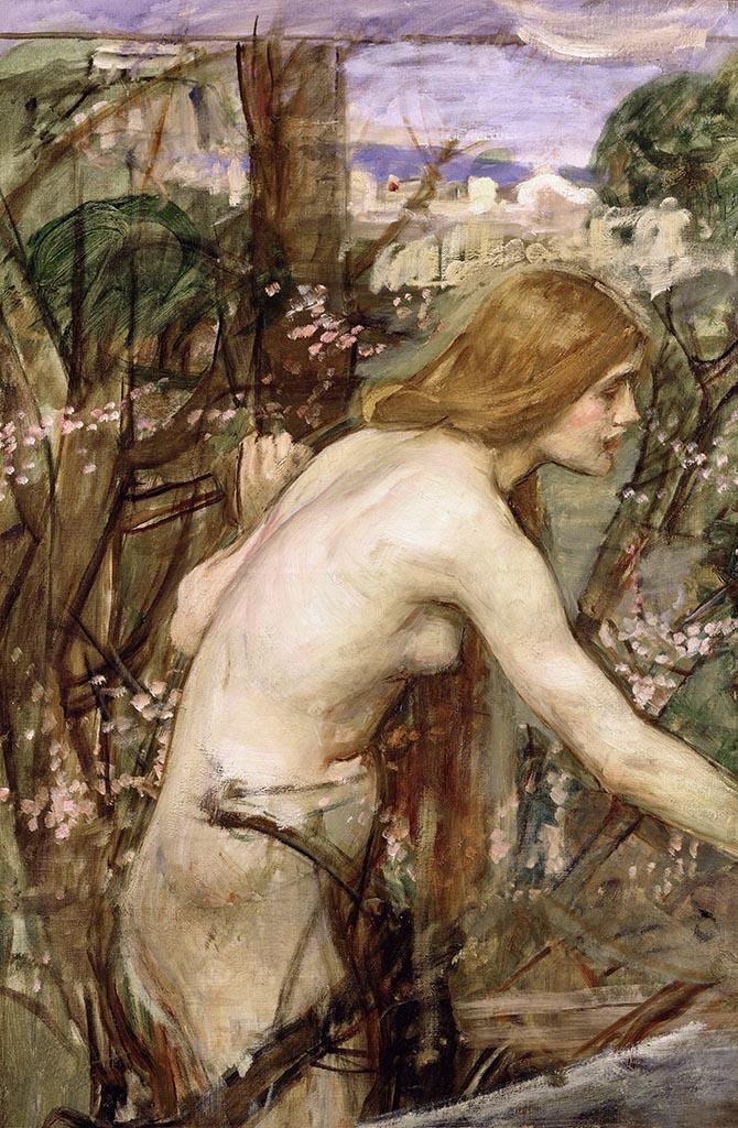 """Джон Уильям Уотерхаус (John William Waterhouse), """"Деувушка, собирающая цветы (эскиз)"""""""
