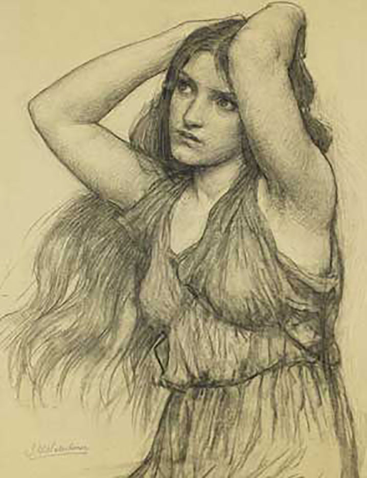 "Джон Уильям Уотерхаус (John William Waterhouse), ""Flora drawing"""