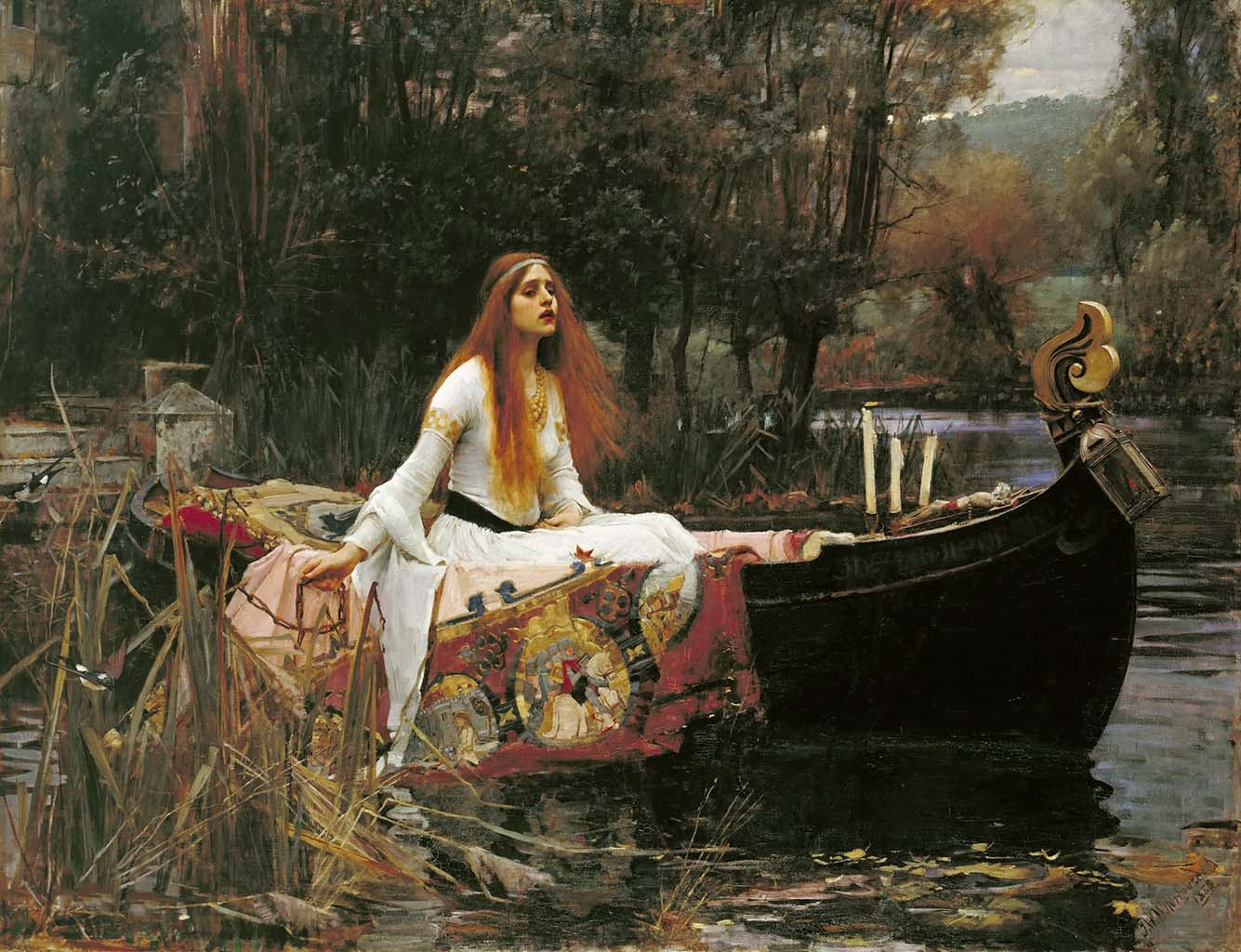 "Джон Уильям Уотерхаус (John William Waterhouse), ""Леди Шалотт"""