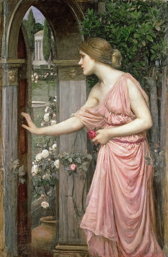 "Джон Уильям Уотерхаус (John William Waterhouse), ""Вход Психеи в сад Купидона"""