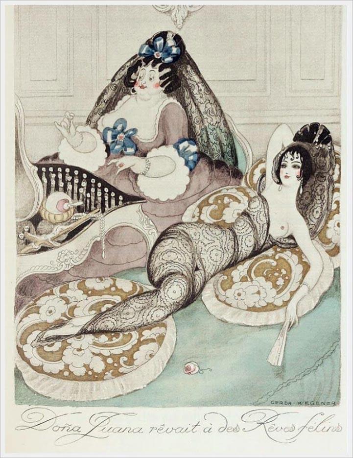 """Герда Вегенер (Gerda Wegener), """"Dona Luana revait a des Reves felins"""""""