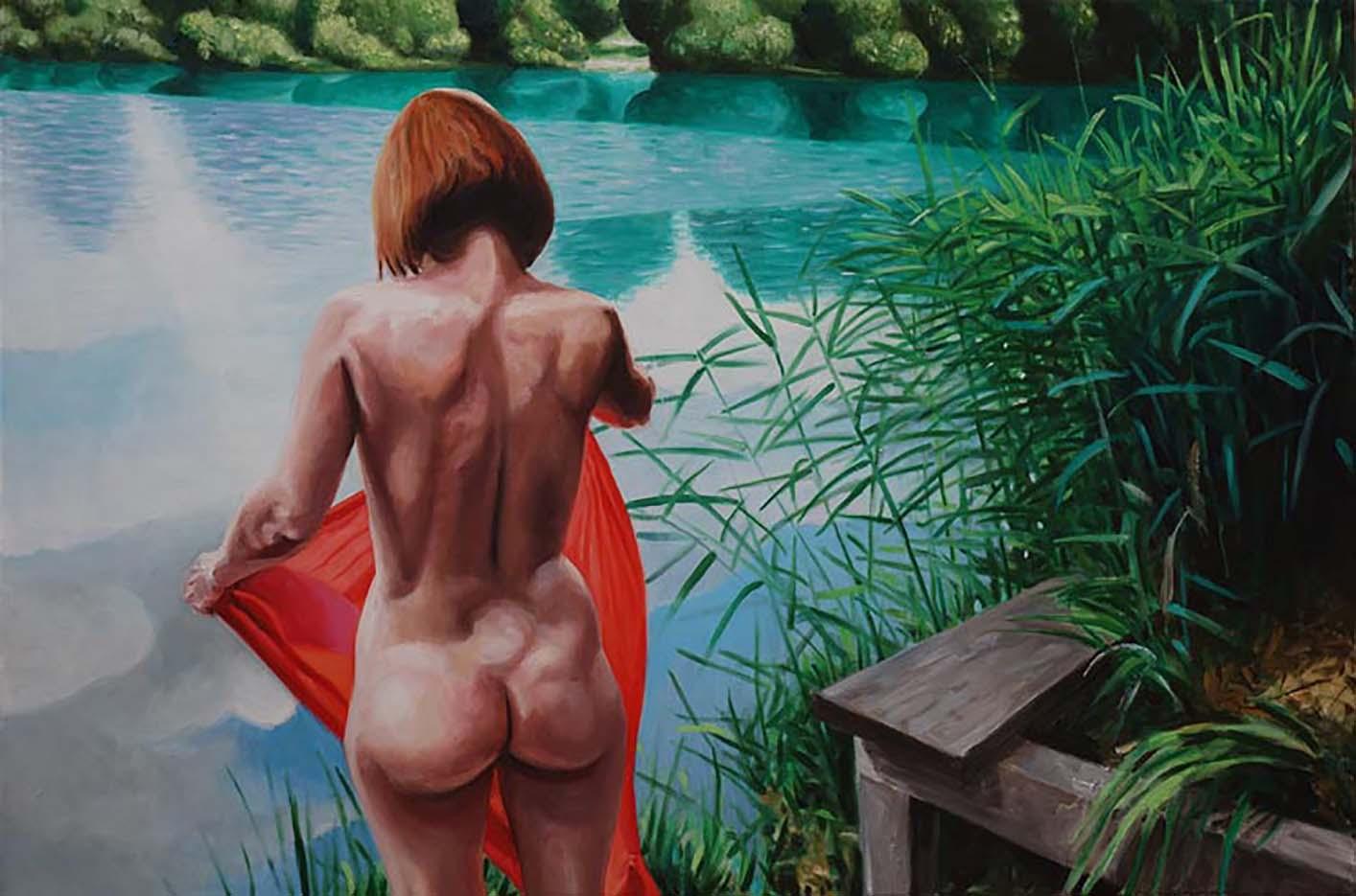 """Георг С. Вирнхартер (Georg C. Wirnharter) """"Cora mit rotem Tuch am grunen Teich"""""""