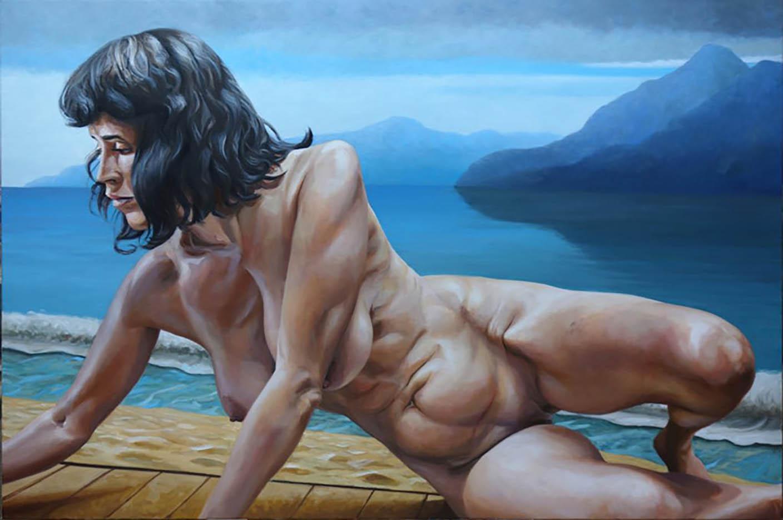 """Георг С. Вирнхартер (Georg C. Wirnharter) """"Renee auf dem Boden vor dem Korsikabild"""""""