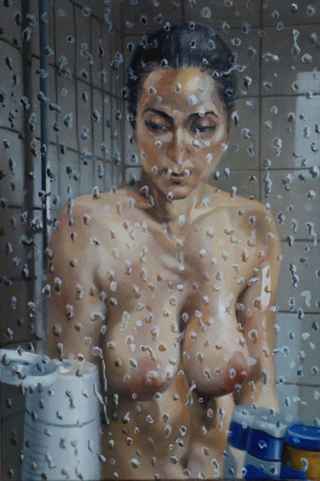 """Георг С. Вирнхартер (Georg C. Wirnharter) """"Renee in der Dusche hinter der Glasscheibe"""""""