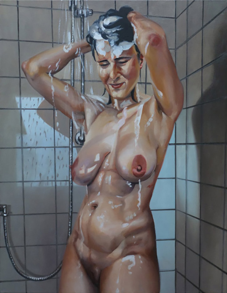 """Георг С. Вирнхартер (Georg C. Wirnharter) """"Renee unter der Dusche, sich die Haare waschend"""""""
