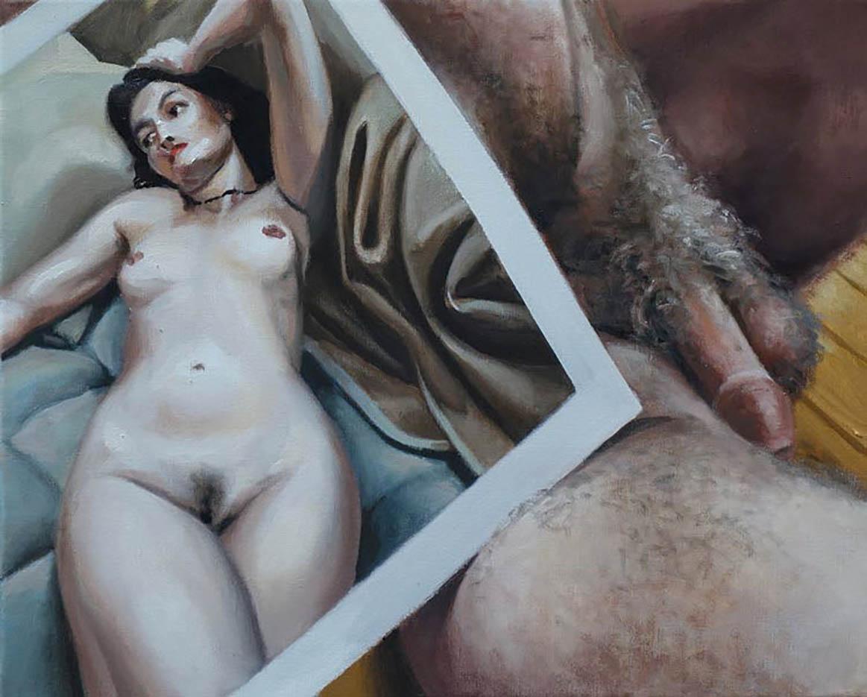 """Георг С. Вирнхартер (Georg C. Wirnharter) """"Greis mit einem Foto der jungen Mona"""""""