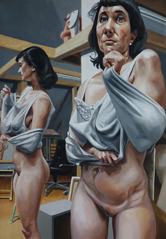 """Георг С. Вирнхартер (Georg C. Wirnharter) """"Renee, fast wie in einer Zwangsjacke vor dem Atelierspiegel"""""""