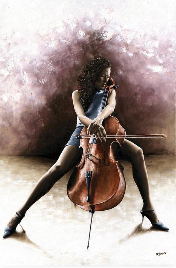 "Ричард Янг (Richard Young), ""Tranquil Cellist"""