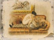 """Михай Зичи (Zichy, Mihaly) """"""""Souvenir de Jeunesse"""" Erotic Drawing - 24"""""""