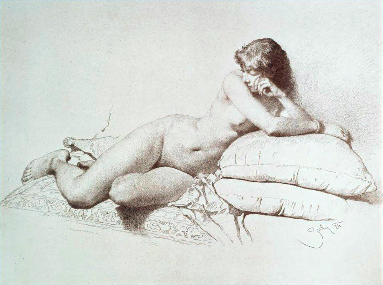 "Михай Зичи (Zichy, Mihaly) ""A Set of Ten Studies of Nudes - 6"""