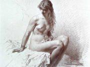 "Михай Зичи (Zichy, Mihaly) ""A Set of Ten Studies of Nudes - 9"""