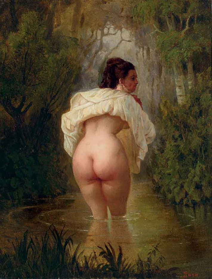 "Михай Зичи (Zichy, Mihaly) ""Nude in a Pond"""
