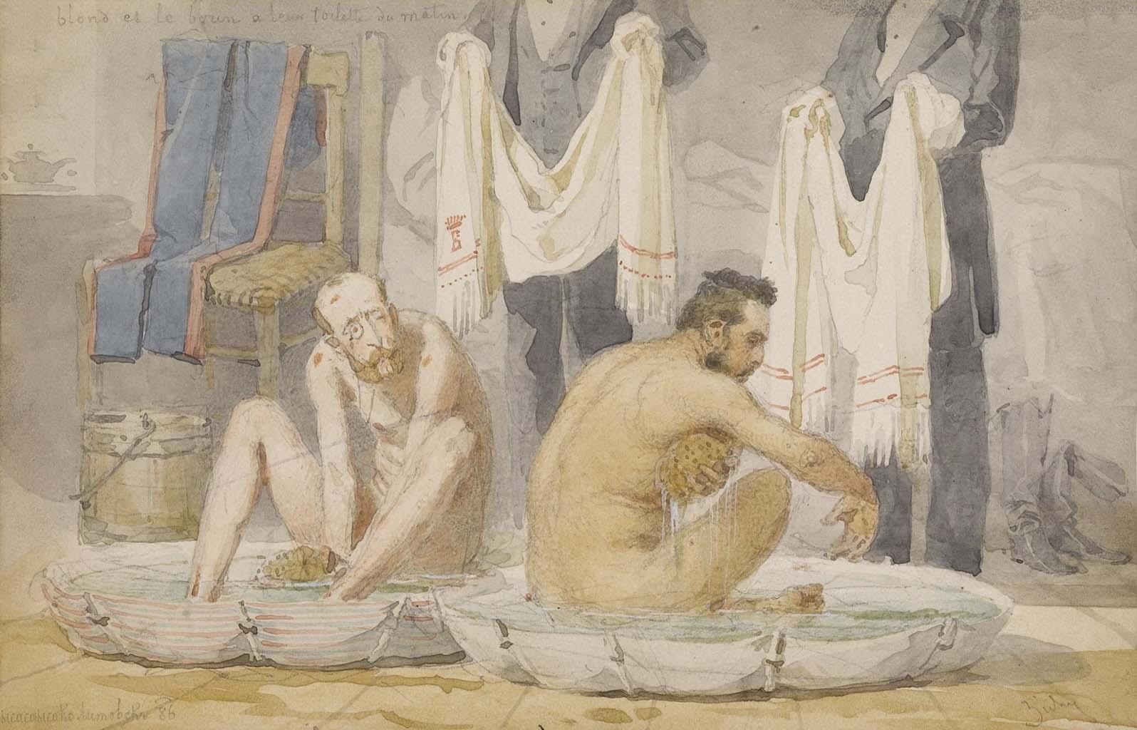 """Михай Зичи (Zichy, Mihaly) """"Count von Benckendorff bathing"""""""