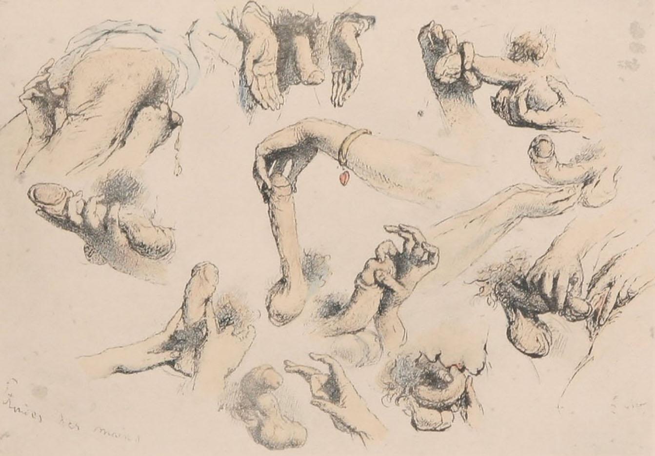 "Михай Зичи (Zichy, Mihaly) ""Set of five Erotic Lithographs - 2"""