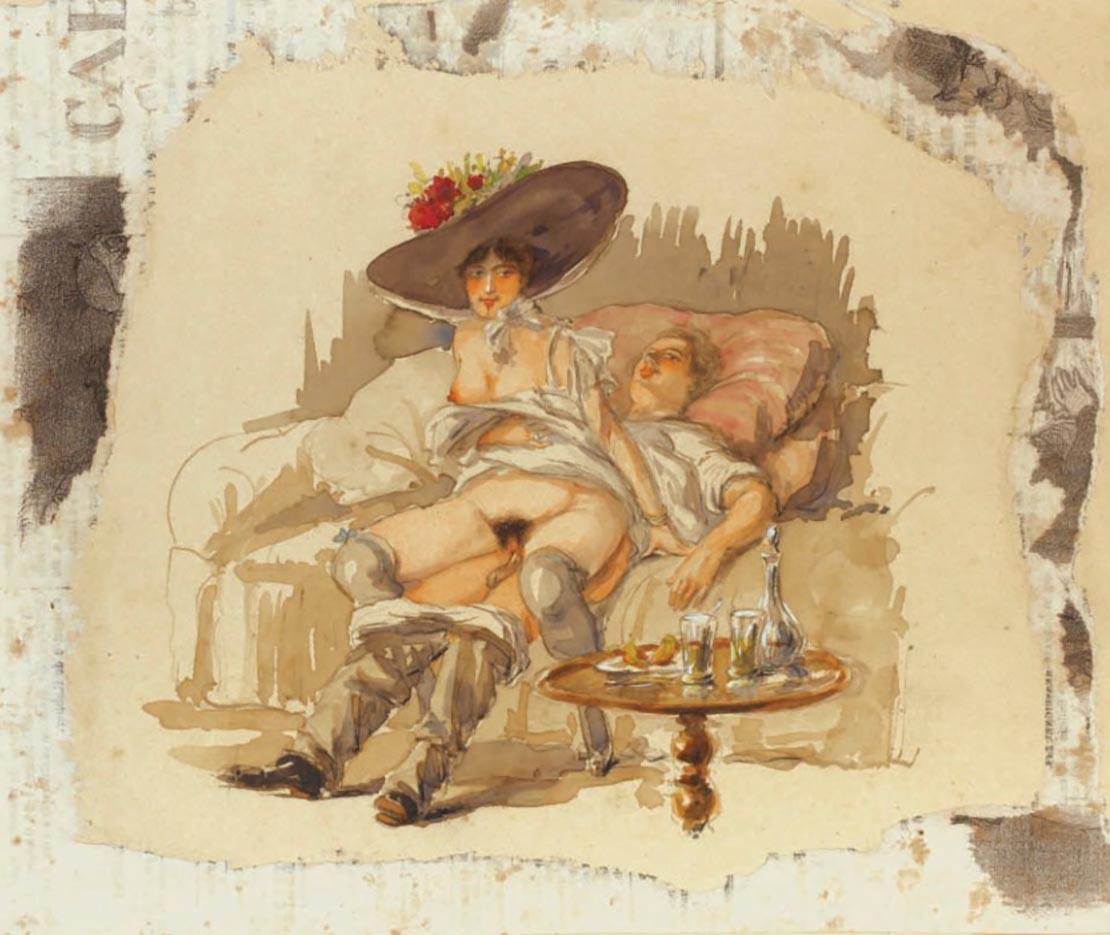 """Михай Зичи (Zichy, Mihaly) """"""""Souvenir de Jeunesse"""" Erotic Drawing - 2"""""""