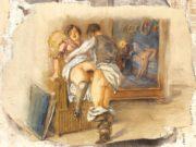 """Михай Зичи (Zichy, Mihaly) """"""""Souvenir de Jeunesse"""" Erotic Drawing - 3"""""""