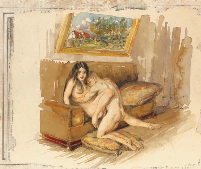 """Михай Зичи (Zichy, Mihaly) """"""""Souvenir de Jeunesse"""" Erotic Drawing - 4"""""""