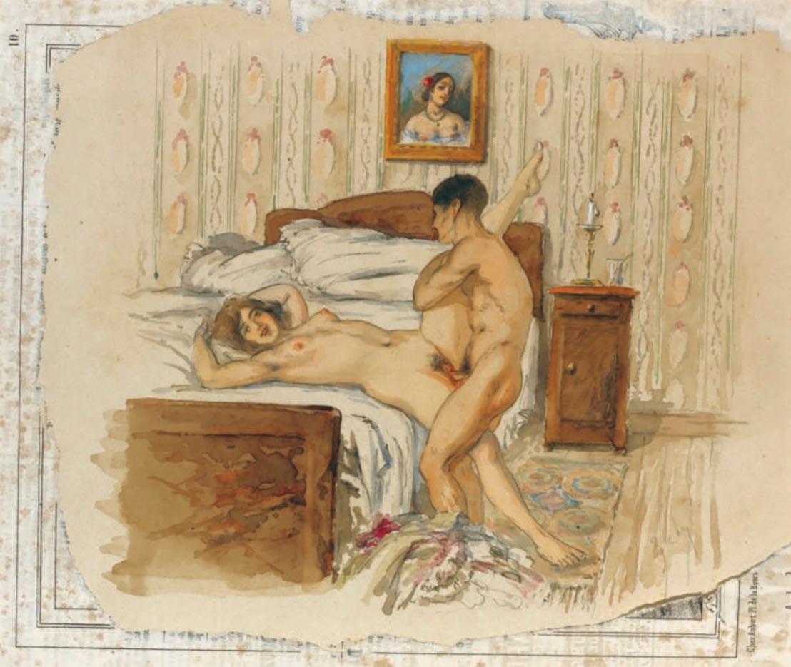 """Михай Зичи (Zichy, Mihaly) """"""""Souvenir de Jeunesse"""" Erotic Drawing - 5"""""""