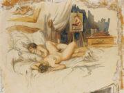 """Михай Зичи (Zichy, Mihaly) """"""""Souvenir de Jeunesse"""" Erotic Drawing - 7"""""""
