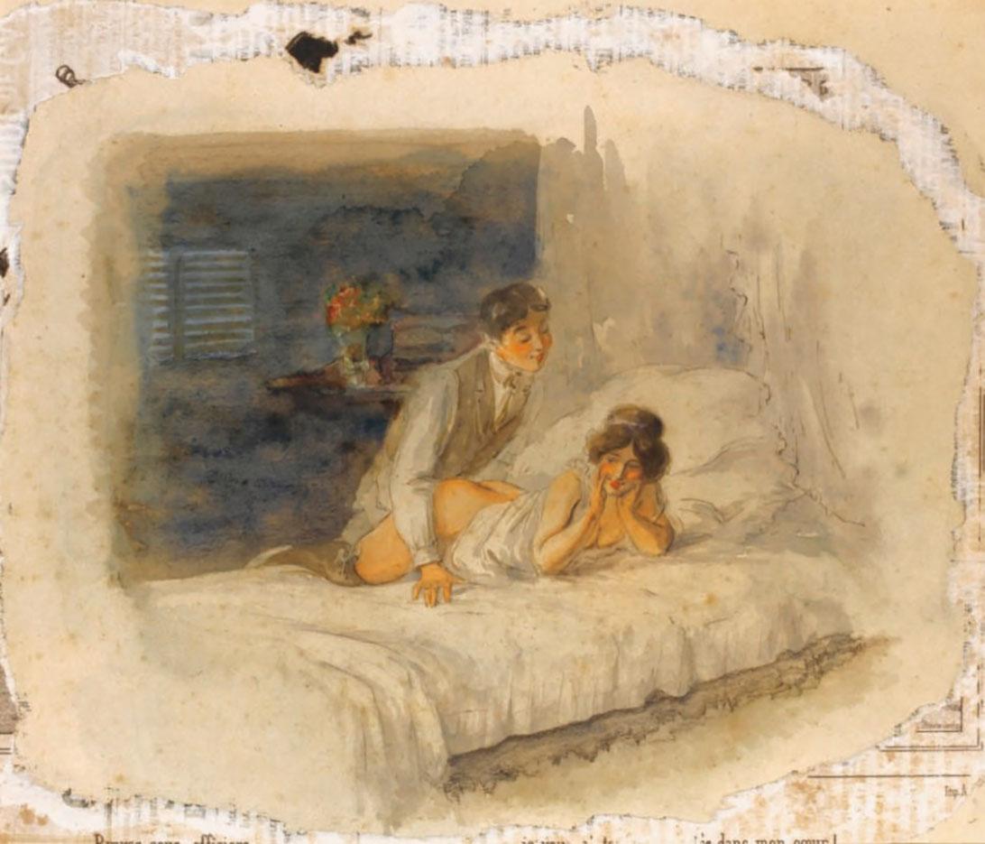"""Михай Зичи (Zichy, Mihaly) """"""""Souvenir de Jeunesse"""" Erotic Drawing - 9"""""""