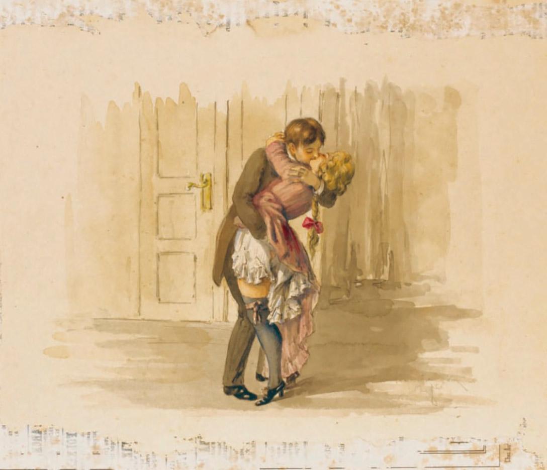 """Михай Зичи (Zichy, Mihaly) """"""""Souvenir de Jeunesse"""" Erotic Drawing - 10"""""""