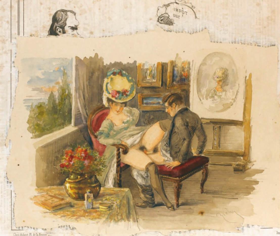 """Михай Зичи (Zichy, Mihaly) """"""""Souvenir de Jeunesse"""" Erotic Drawing - 11"""""""