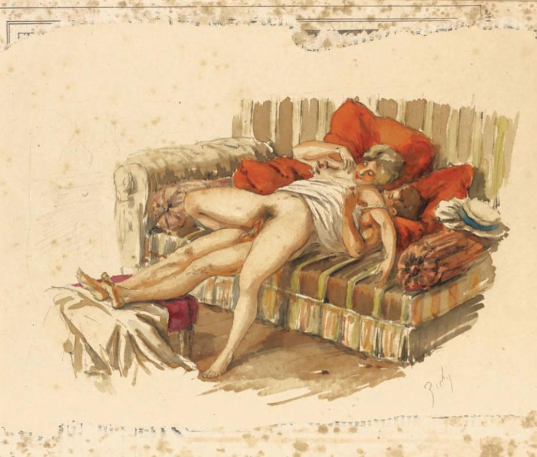 """Михай Зичи (Zichy, Mihaly) """"""""Souvenir de Jeunesse"""" Erotic Drawing - 12"""""""