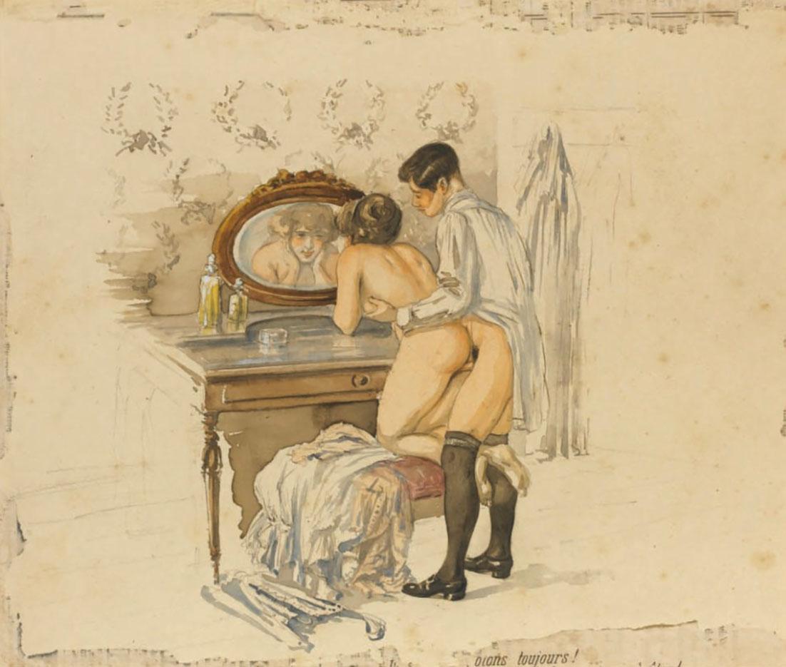 """Михай Зичи (Zichy, Mihaly) """"""""Souvenir de Jeunesse"""" Erotic Drawing - 13"""""""