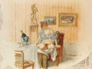 """Михай Зичи (Zichy, Mihaly) """"""""Souvenir de Jeunesse"""" Erotic Drawing - 14"""""""