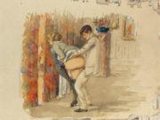 """Михай Зичи (Zichy, Mihaly) """"""""Souvenir de Jeunesse"""" Erotic Drawing - 16"""""""
