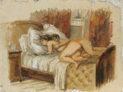 """Михай Зичи (Zichy, Mihaly) """"""""Souvenir de Jeunesse"""" Erotic Drawing - 18"""""""