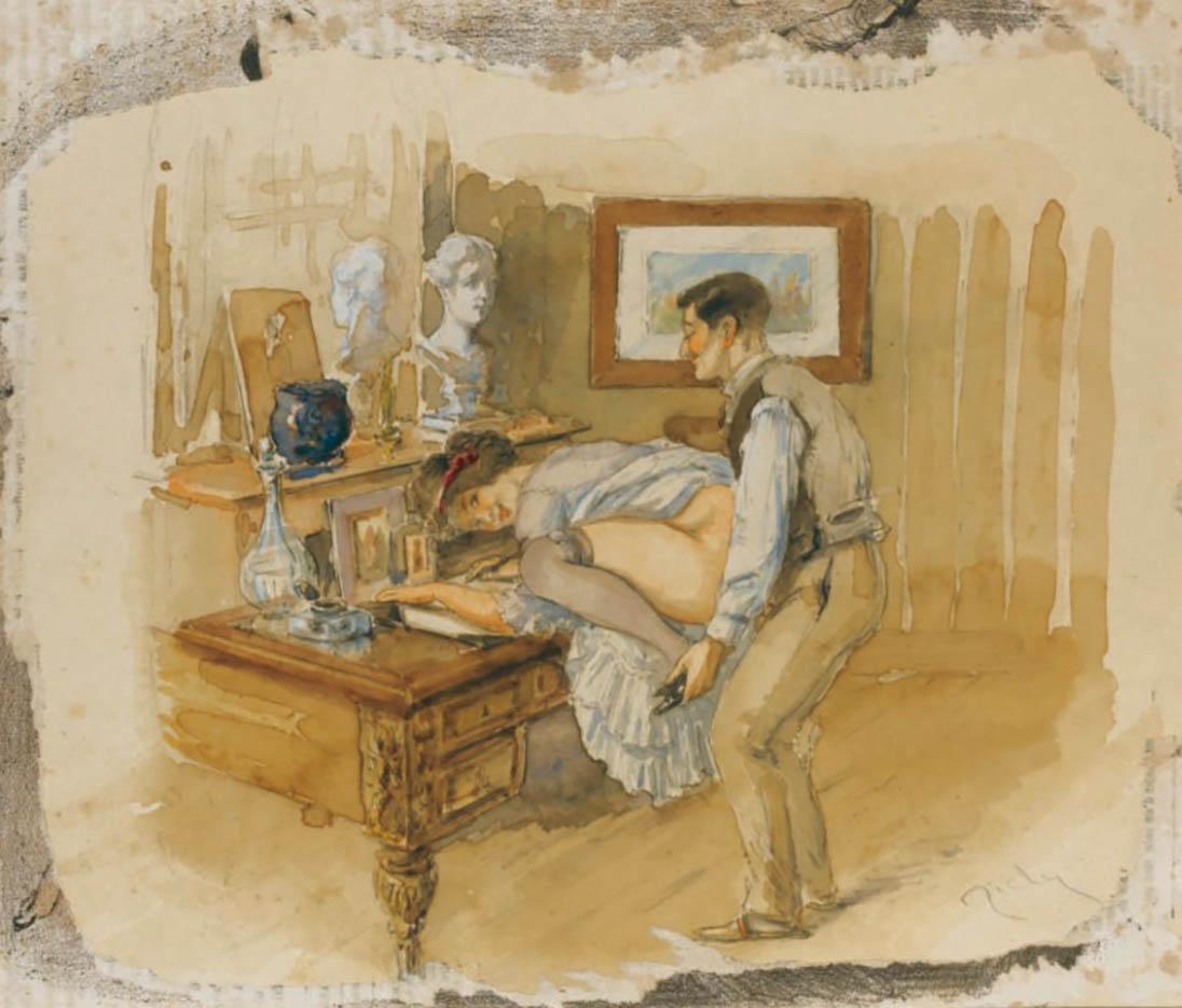 """Михай Зичи (Zichy, Mihaly) """"""""Souvenir de Jeunesse"""" Erotic Drawing - 19"""""""