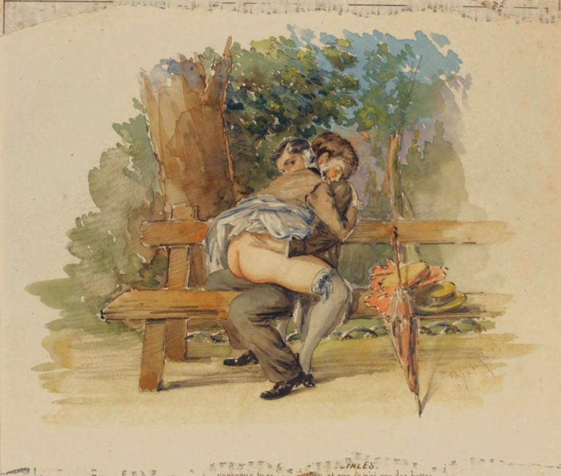 """Михай Зичи (Zichy, Mihaly) """"""""Souvenir de Jeunesse"""" Erotic Drawing - 20"""""""