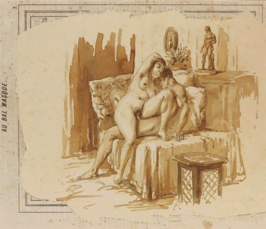 """Михай Зичи (Zichy, Mihaly) """"""""Souvenir de Jeunesse"""" Erotic Drawing - 22"""""""