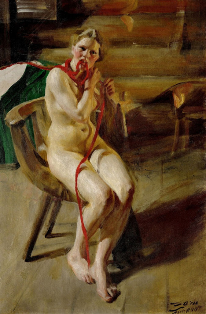 "Андерс Цорн (Anders Zorn), ""Nude woman arranging her hair"""