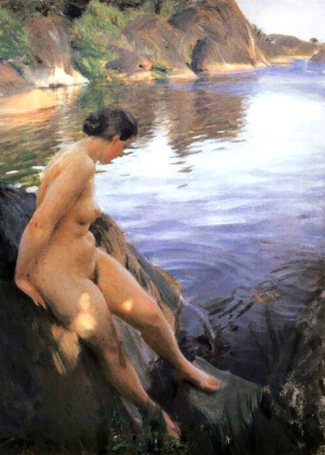 "Андерс Цорн (Anders Zorn), ""Woman bathing at Sandhamn"""