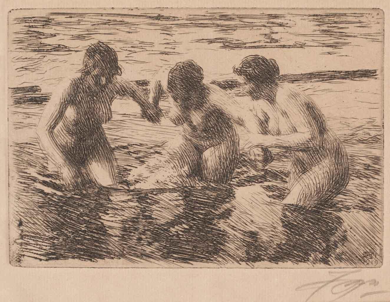 """Андерс Цорн (Anders Zorn), """"Против течения"""" (Drawing)"""