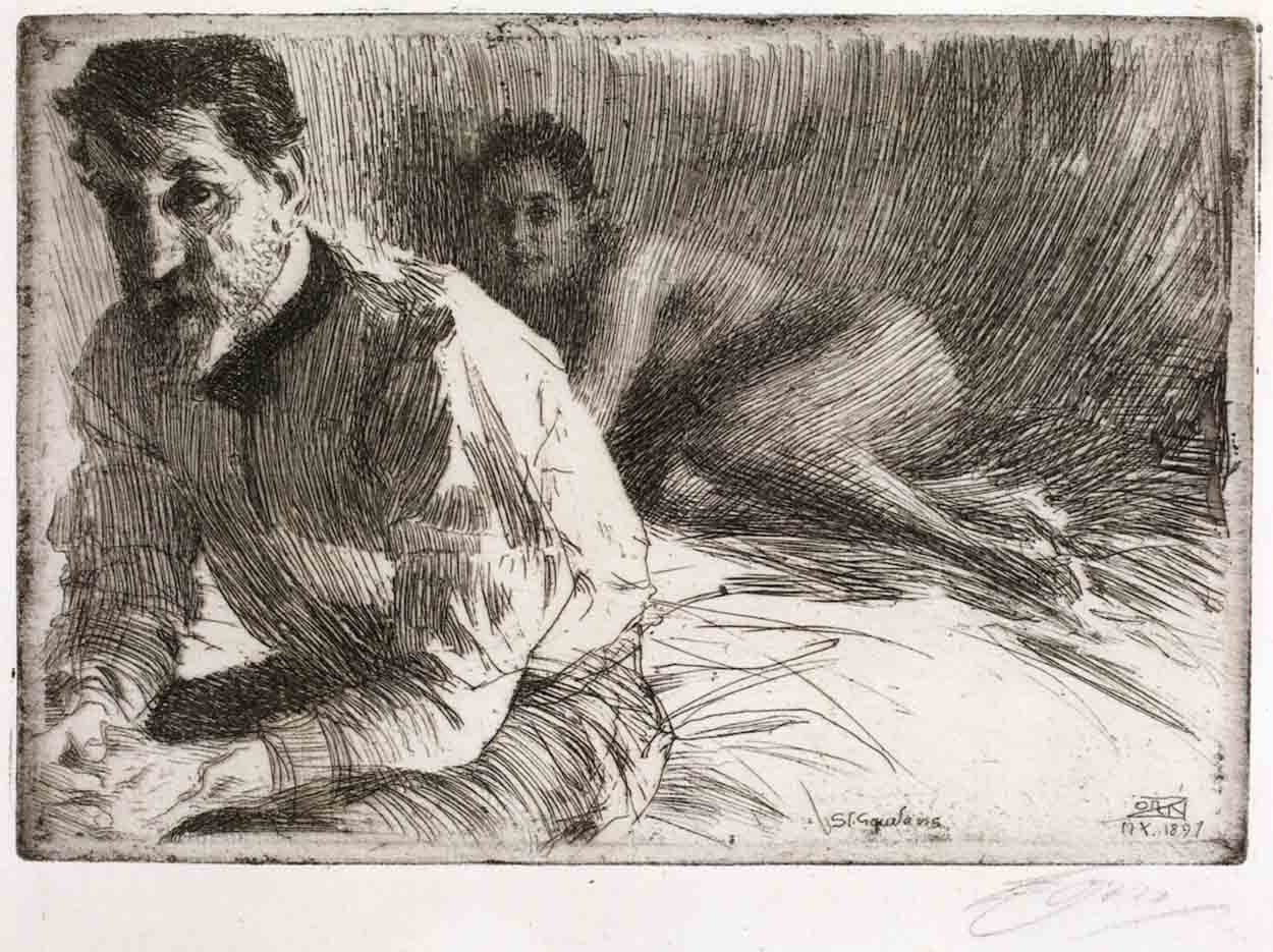 "Андерс Цорн (Anders Zorn), ""Скульптор Огастес Сент-Годенс"" (Drawing)"