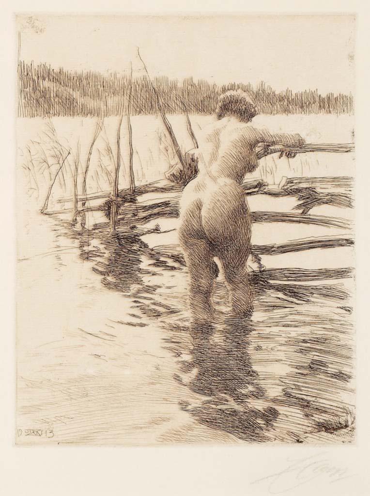 """Андерс Цорн (Anders Zorn), """"Забор"""" (Drawing)"""