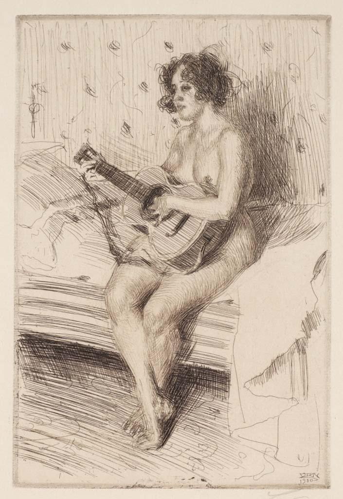 """Андерс Цорн (Anders Zorn), """"Гитаристка"""" (Drawing)"""