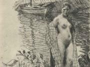 "Андерс Цорн (Anders Zorn), ""My Model and My Boat"" (Drawing)"