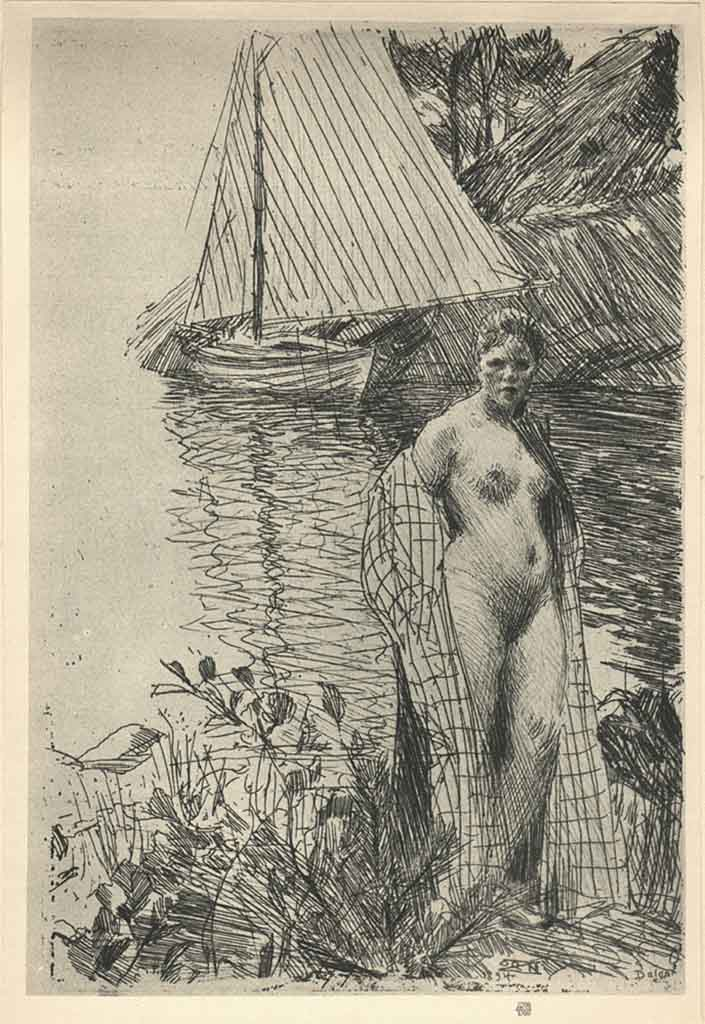 "Андерс Цорн (Anders Zorn), ""My Model and My Boat"" (Drawing)"