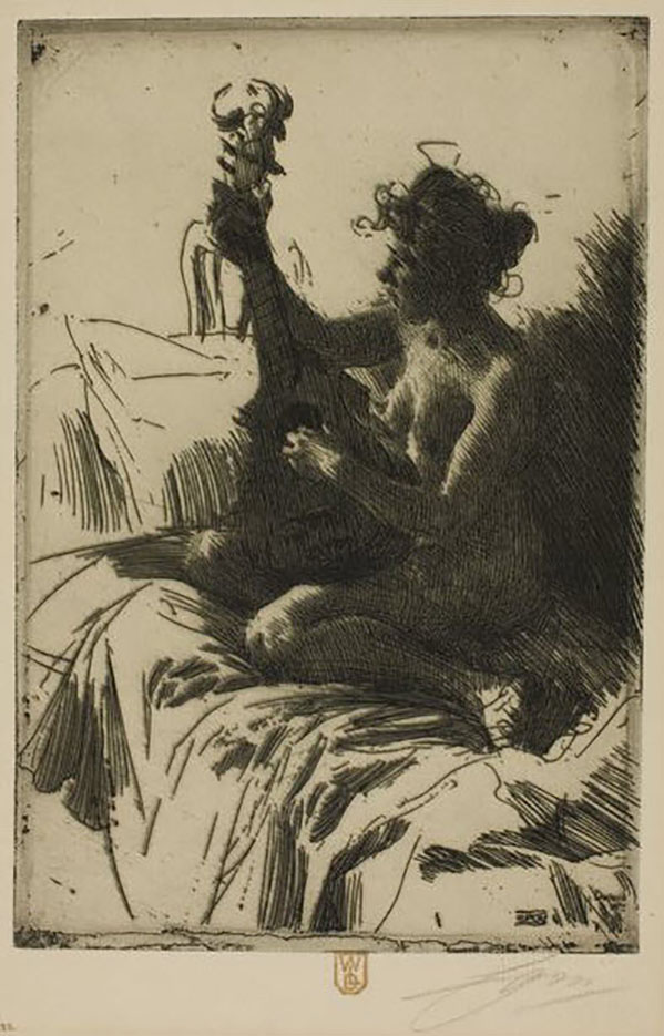 "Андерс Цорн (Anders Zorn), ""The Guitar"" (Drawing)"