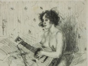"""Андерс Цорн (Anders Zorn), """"Guitar player"""" (Drawing)"""