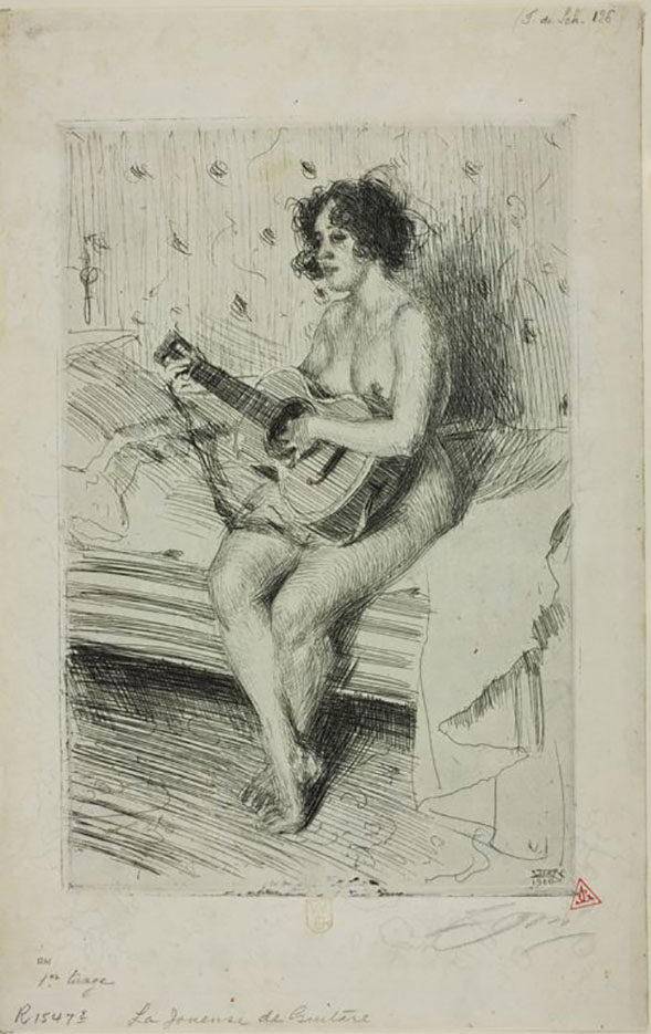 "Андерс Цорн (Anders Zorn), ""Guitar player"" (Drawing)"