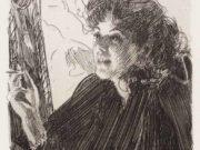 """Андерс Цорн (Anders Zorn), """"Девушка с сигаретой"""" (Drawing)"""